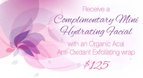 Complimetary Mini Facial with Organic Acai Anti-Oxidant Exfoliating Wrap